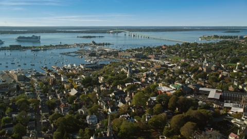 AX144_244.0000000 - Aerial stock photo of A coastal community by Newport Harbor, Newport, Rhode Island
