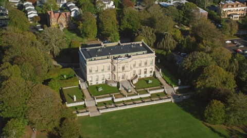 AX144_245.0000032 - Aerial stock photo of The Elms, a historic mansion in Newport, Rhode Island