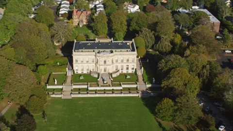 AX144_245.0000076 - Aerial stock photo of The Elms, a historic mansion located in Newport, Rhode Island