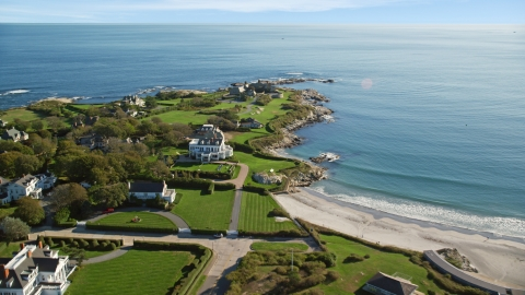 AX144_249.0000059 - Aerial stock photo of Mansions by the water in Newport, Rhode Island