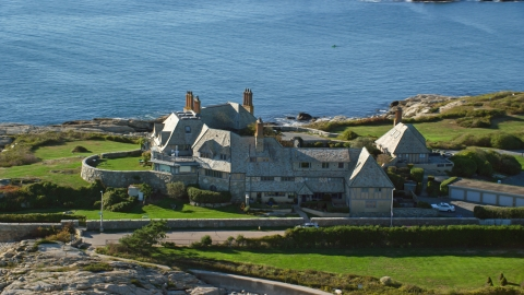 AX144_251.0000000 - Aerial stock photo of An oceanfront mansion in Newport, Rhode Island