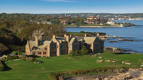 AX144_253.0000191 - Aerial stock photo of Rough Point, an oceanfront mansion, in Newport, Rhode Island