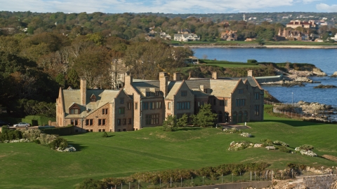 AX144_253.0000225 - Aerial stock photo of A view of Rough Point, an oceanfront mansion in Newport, Rhode Island