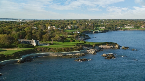 AX144_254.0000000 - Aerial stock photo of Oceanfront mansions with green lawns, Newport, Rhode Island