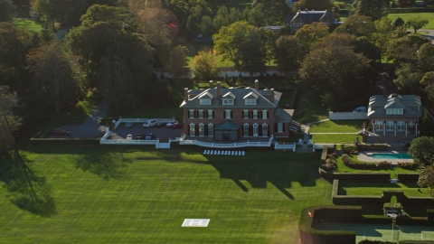 AX144_259.0000033 - Aerial stock photo of An estate with green lawns in Newport, Rhode Island