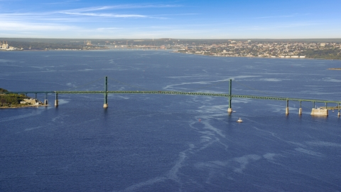 AX145_010.0000220 - Aerial stock photo of Mount Hope Bridge and Mount Hope Bay, Portsmouth, Rhode Island