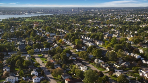 AX145_028.0000013 - Aerial stock photo of Suburban neighborhoods in East Providence, Rhode Island