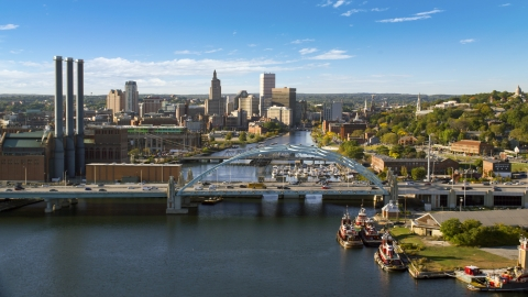 AX145_033.0000000 - Aerial stock photo of A view of the Providence River Bridge and Downtown Providence, Rhode Island