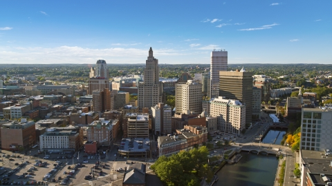 AX145_036.0000016 - Aerial stock photo of Tall skyscrapers by the river in Downtown Providence, Rhode Island