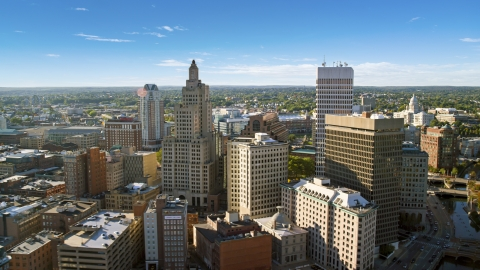 AX145_036.0000165 - Aerial stock photo of A view of skyscrapers and city buildings in Downtown Providence, Rhode Island