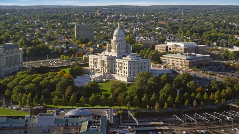 AX145_038.0000000 - Aerial stock photo of The Rhode Island State House, Providence, Rhode Island