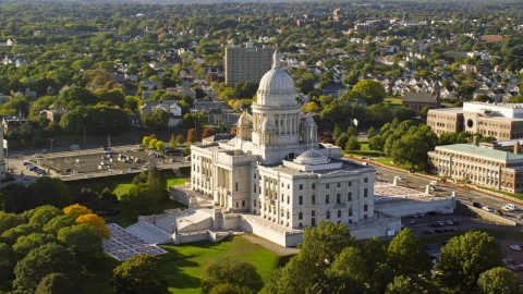 AX145_038.0000145 - Aerial stock photo of A view of the Rhode Island State House, Providence, Rhode Island