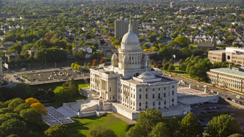 AX145_039.0000061 - Aerial stock photo of Rhode Island State House in Providence, Rhode Island