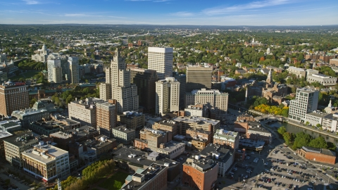 AX145_047.0000216 - Aerial stock photo of Tall skyscrapers and city buildings, Downtown Providence, Rhode Island