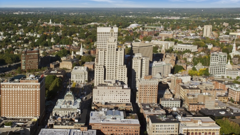 AX145_049.0000055 - Aerial stock photo of The 111 Westminster Street skyscraper in Downtown Providence, Rhode Island