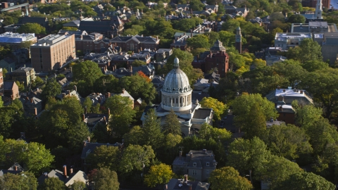 AX145_068.0000000 - Aerial stock photo of The First Church of Christ Scientist and trees, Providence, Rhode Island