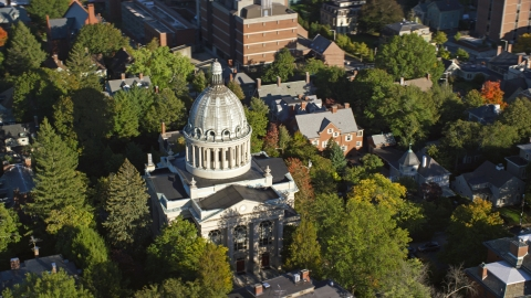 AX145_068.0000194 - Aerial stock photo of The dome of the First Church of Christ Scientist, Providence, Rhode Island