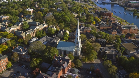 AX145_079.0000084 - Aerial stock photo of The First Unitarian Church of Providence, Rhode Island
