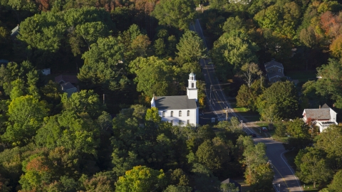 AX145_100.0000000 - Aerial stock photo of The First Congregational Church in North Attleborough, Massachusetts