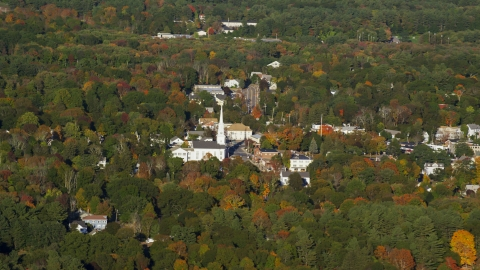 AX145_108.0000197 - Aerial stock photo of A small town and church in autumn, Foxborough, Massachusetts