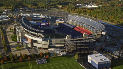 AX145_118.0000082 - Aerial stock photo of Gillette Stadium in autumn, Foxborough, Massachusetts