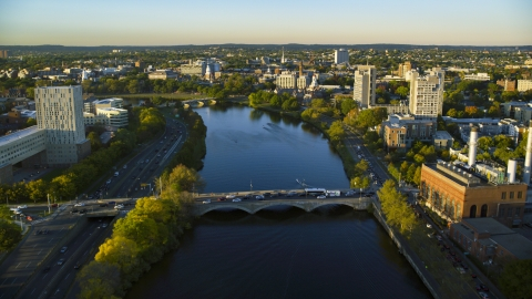 AX146_018.0000179F - Aerial stock photo of The Charles River near Harvard University, Massachusetts, sunset