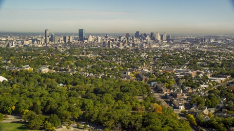 AX147_002.0000322 - Aerial stock photo of Downtown Boston city sprawl and skyline, Massachusetts
