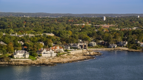 AX147_022.0000052 - Aerial stock photo of Mansions along the coast in Marblehead, Massachusetts