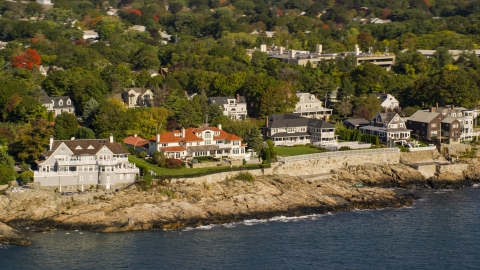 AX147_022.0000222 - Aerial stock photo of Mansions lining the coast in Marblehead, Massachusetts