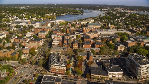 AX147_041.0000000 - Aerial stock photo of Brick office and apartment buildings in autumn, Salem, Massachusetts