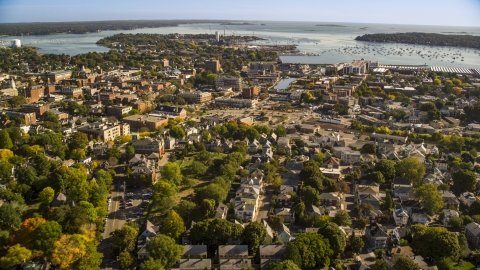AX147_048.0000000 - Aerial stock photo of Coastal town with a view of the harbor, Salem, Massachusetts