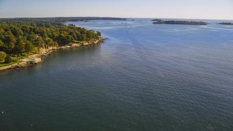 AX147_056.0000000 - Aerial stock photo of Salem Sound and coastline, Beverly, Massachusetts