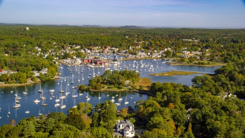AX147_067.0000000 - Aerial stock photo of Harbor with boats in autumn, Manchester-by-the-Sea, Massachusetts