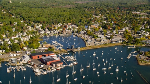 AX147_068.0000000 - Aerial stock photo of A harbor and coastal community surrounded by trees in autumn, Manchester-by-the-Sea, Massachusetts