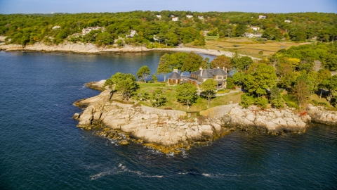 AX147_077.0000131 - Aerial stock photo of Waterfront mansion in Manchester-by-the-Sea, Massachusetts