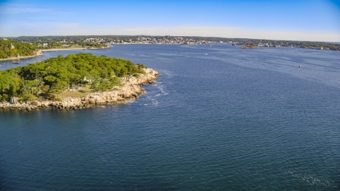 AX147_082.0000037 - Aerial stock photo of A coastal town at the end of Gloucester Harbor, Gloucester, Massachusetts