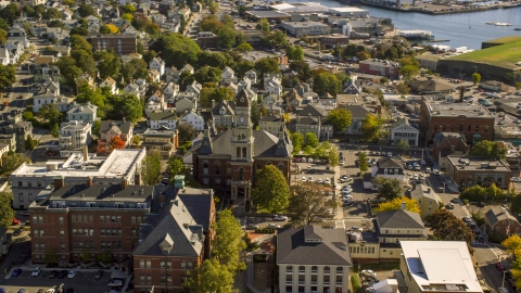AX147_100.0000163 - Aerial stock photo of Gloucester City Hall in a small coastal town, Gloucester, Massachusetts