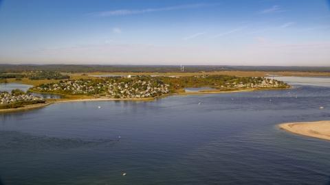 AX147_150.0000304 - Aerial stock photo of A coastal town in autumn, Ipswich, Massachusetts