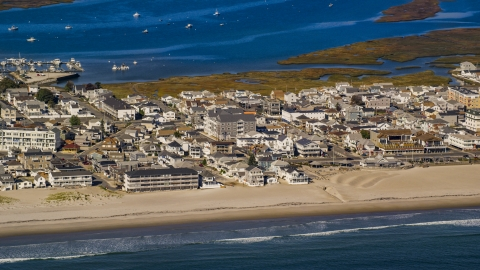 AX147_155.0000000 - Aerial stock photo of A coastal town beside an empty beach, Hampton, New Hampshire