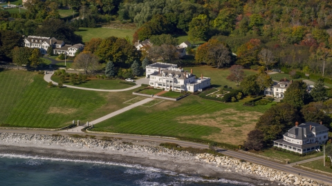 AX147_161.0000116 - Aerial stock photo of Oceanfront mansions in autumn, North Hampton, New Hampshire