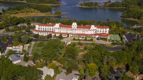 AX147_171.0000362 - Aerial stock photo of Wentworth By The Sea hotel in autumn, New Castle, New Hampshire