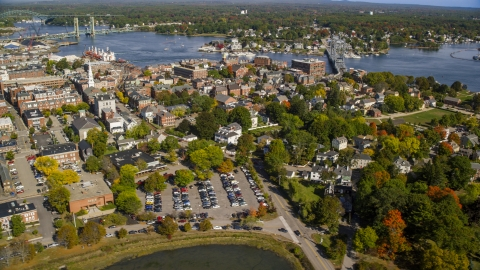 AX147_179.0000226 - Aerial stock photo of A small coastal town in autumn, Portsmouth, New Hampshire