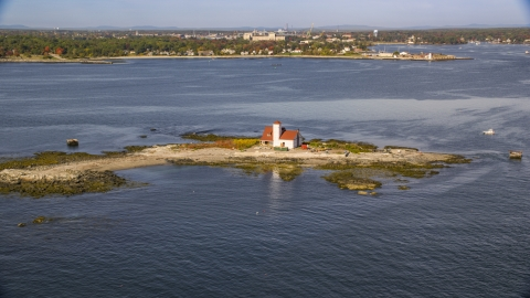 AX147_197.0000000 - Aerial stock photo of An isolated home on an island, Kittery, Maine
