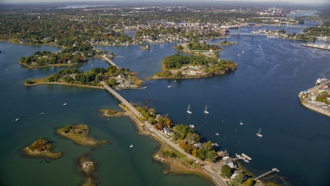 AX147_201.0000000 - Aerial stock photo of Bridges to Pierce Island and coastal town, Portsmouth, New Hampshire