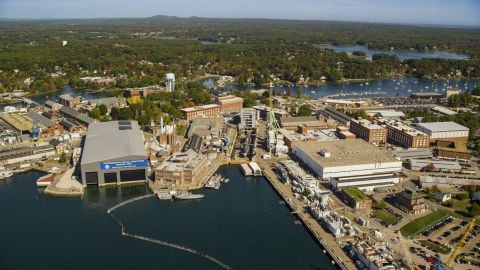 AX147_224.0000000 - Aerial stock photo of The Portsmouth Naval Shipyard in autumn, Kittery, Maine