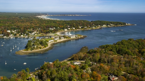 AX147_232.0000000 - Aerial stock photo of A small coastal town and York Harbor in autumn, York, Maine