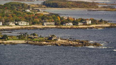 AX147_255.0000051 - Aerial stock photo of The Bush Compound and rocky coast, autumn, Kennebunkport, Maine