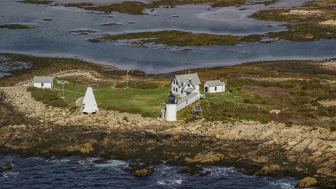 AX147_262.0000000 - Aerial stock photo of Goat Island Light in autumn, Kennebunkport, Maine