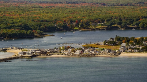 AX147_273.0000240 - Aerial stock photo of Oceanfront homes near the Saco River, autumn, Saco, Maine