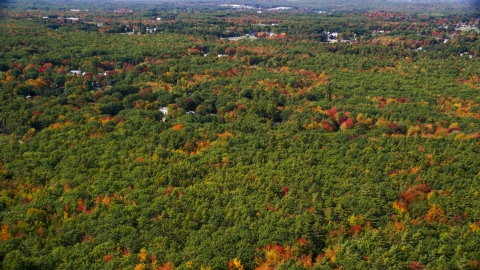 AX147_279.0000000 - Aerial stock photo of Dense, colorful forest, rural homes, Biddeford, Maine